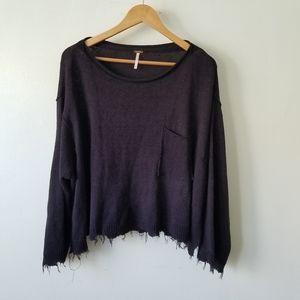 Free People Linen Blend Crop Oversized Sweater XS